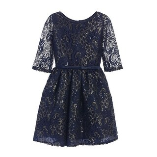 Sweet Kids Girls Navy Sequin Lace Gold Leaf Print Occasion Dress 7-16