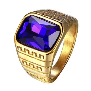 Blue Solitaire Mens Ring Stainless Steel Gold Tone Greek Medusa Design Size 9-11