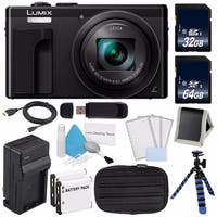 Panasonic LUMIX 4K DMC-ZS60 Digital Camera (Black) (International Model) No Warranty + Small Case + Charger + 32GB Card Bundle