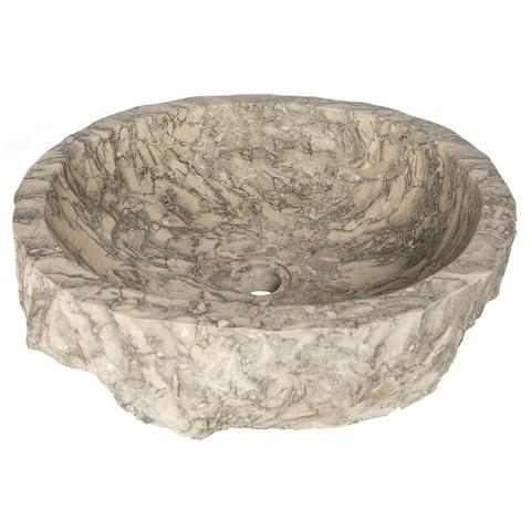 Eden Bath Rustic Grigio Marble Sink with Rough Exterior - Grey