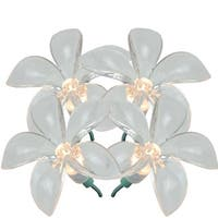 Set of 20 Plumeria Flower Clear Novelty Christmas Lights - Green Wire
