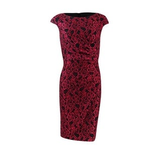 Alex Evening Women's Petite Sequined Lace Sheath Dress - Ruby