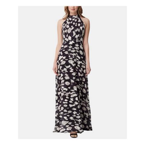 TAHARI Womens Black Printed Sleeveless Maxi Sheath Dress Size 8