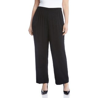 Karen Kane Womens Plus Wide Leg Pants Crinkled Casual