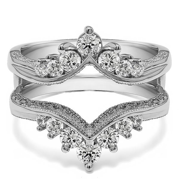 3/4 Ct. Chevron Vintage Ring Guard Cubic Zirconia Sterling Silver