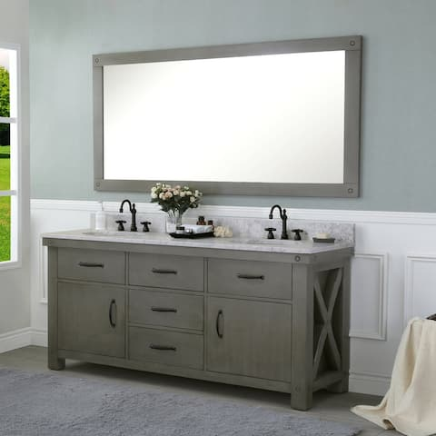 Aberdeen Grizzle Grey and Carrara White Marble Double Sink Vanity