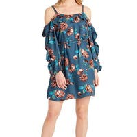 Jessica Simpson Blue Womens Size Small S Cold Shoulder Shift Dress
