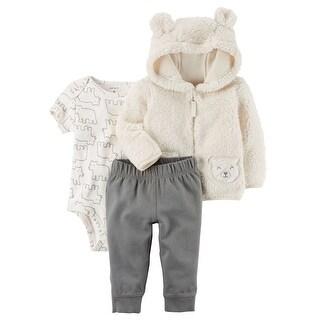 Carter's Baby Boys' 3-Piece Sherpa Jacket Set- Ivory Bear- 18 Months