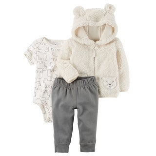 Carter's Baby Boys' 3-Piece Sherpa Jacket Set- Ivory Bear- 6 Months
