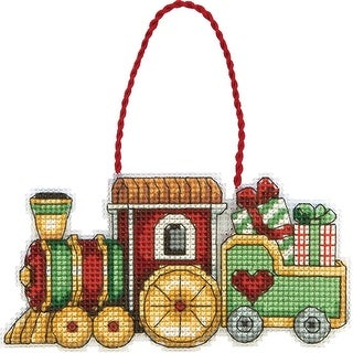 """Susan Winget Train Ornament Counted Cross Stitch Kit-3.75""""X2.25"""" 14 Count Plastic Canvas"""