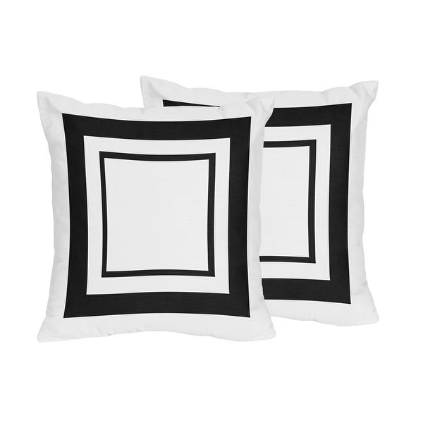Sweet Jojo Designs White and Black Hotel Decorative Accent Throw Pillow (Set of 2). Opens flyout.