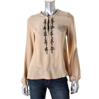 Nanette Lepore Womens Satin Embroidered Blouse - 2