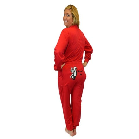"""Red Union Suit Sleeper Pajamas with Funny Rear Flap """"Wasn't Me"""" Skunk"""