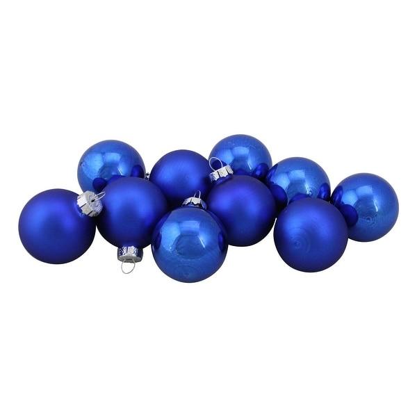 "10-Piece Shiny and Matte Royal Blue Glass Ball Christmas Ornament Set 1.75"" (45mm)"