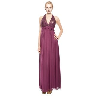 House of Dereon Beaded Silk Lace Halter Evening Gown Dress - 2