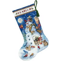 "Gold Collection Snowman & Friends Stocking Counted Cross Sti-16"" Long 18 Count"