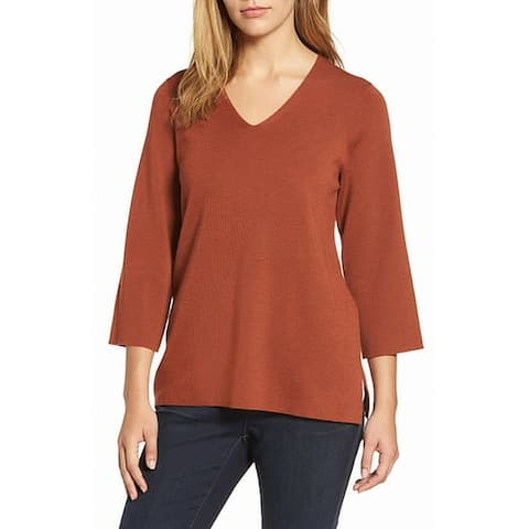 Eileen Fisher Brown Women's Size Small S V-Neck Knit Top Wool