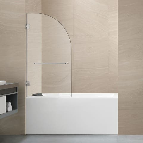 "FELYL 48"" W × 58"" H Hinged Frameless Tub Door"