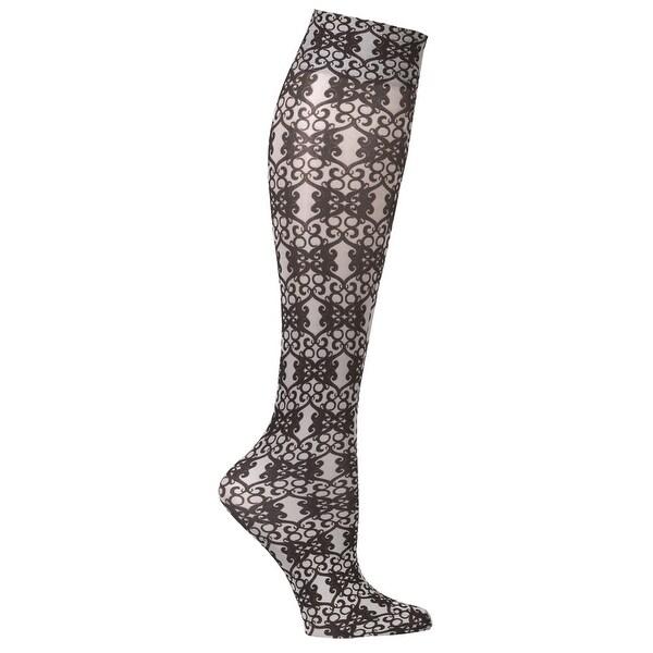 JET PARENT - Printed Mild Compression Wide Calf Knee Highs - French Qtr. Scroll - Medium