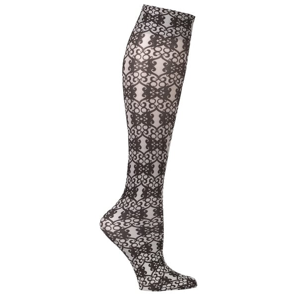 Celeste Stein Women's Mild Compression Knee High Stockings - French Qtr. Scroll - Medium