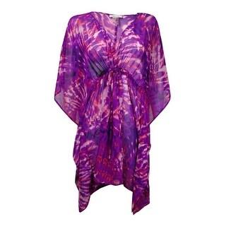 Calvin Klein Women's Printed V-Neck Dolman Swim Cover (S/M, Vibrant Plum) - vibrant plum - S/M