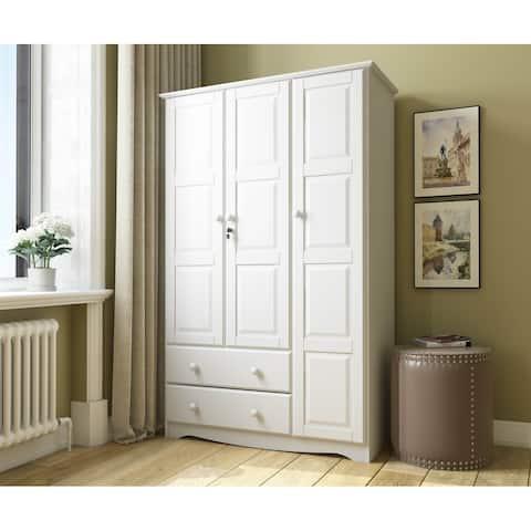 """Copper Grove Caddo Grand Solid Wood 3-door Wardrobe - 45.75""""W x 72""""H x 20.75""""D"""