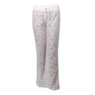 Miken Women's Crochet Lace Drawstring Swim Pants Cover-Up (L, White) - L