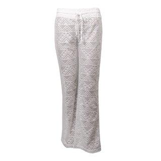 Miken Women's Crochet Lace Drawstring Swim Pants Cover Up (XS, White) - XS
