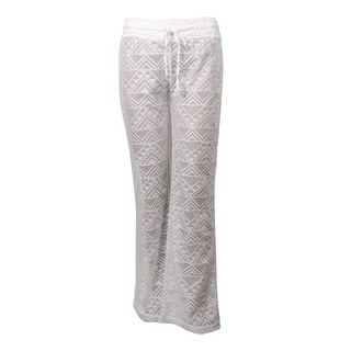 Miken Women's Crochet Lace Swim Pants Cover-Up (M, White) - M