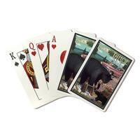 Lake Tahoe CA - Bear & Picnic - LP Artwork (Poker Playing Cards Deck)
