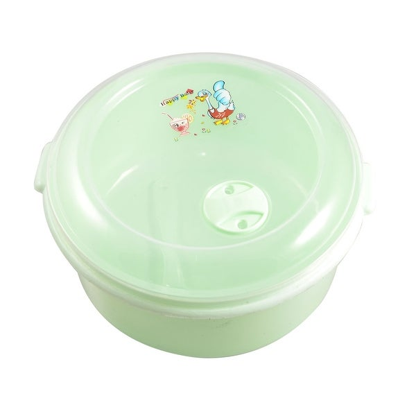Unique Bargains Unique Bargains Kitchen Clear Plastic Lid Light Green Round Lunch Box Food Holder w Spoon