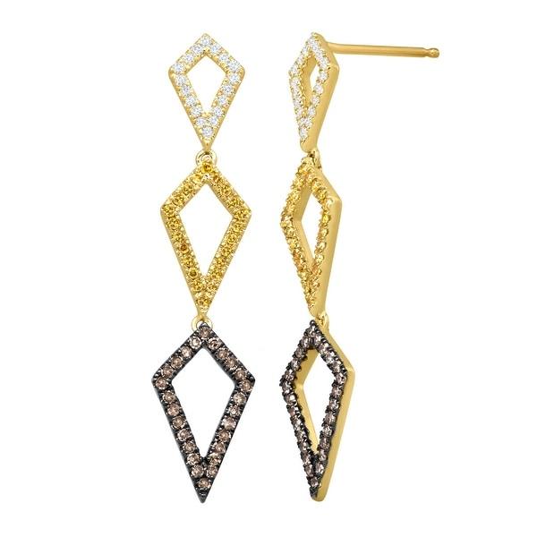 1/2 ct Brown, Yellow & White Diamond Geometric Drop Earrings in 10K Gold