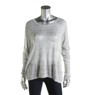 Pure DKNY Womens Pullover Top Linen Open Stitch - l