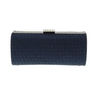 Scheilan Black Fabric Weave Box Clutch/Shoulder Bag