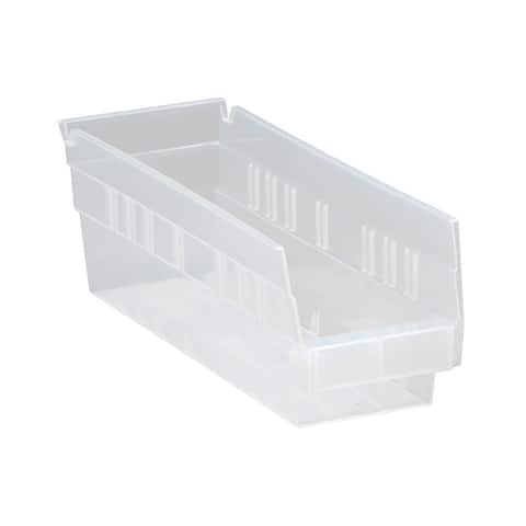 "Offex Clear View Polypropylene Economy 4"" Shelf Bins - 36 Pack"