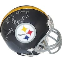 Frenchy Fuqua signed Pittsburgh Steelers Riddell TB Mini Helmet SB Champs IX X insc on top