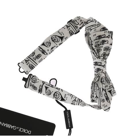 Dolce & Gabbana White Silk Euphonium Print Men's Bowtie - One Size