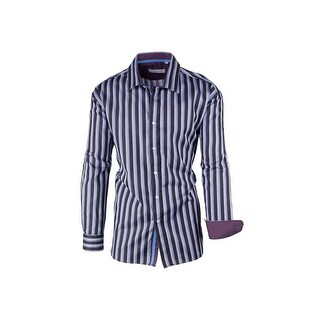 Black, Multi-Color Striped Modern Fit Sport Shirt by Equilibrio Sport