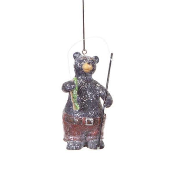 "5"" Rustic Lodge Small Catch Fishing Bear Christmas Ornament"
