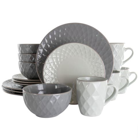 Elama Tahitian Diamond 16 Piece Stoneware Dinnerware Set in Slate