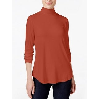 JM Collection Petite Turtleneck Top, Rusty Red, Size S
