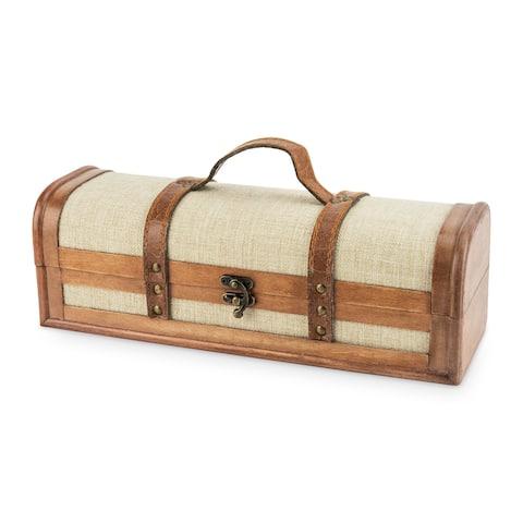 """1 Bottle Vintage Striped Trunk Wine Box by Twine - 4.75"""" x 13"""""""