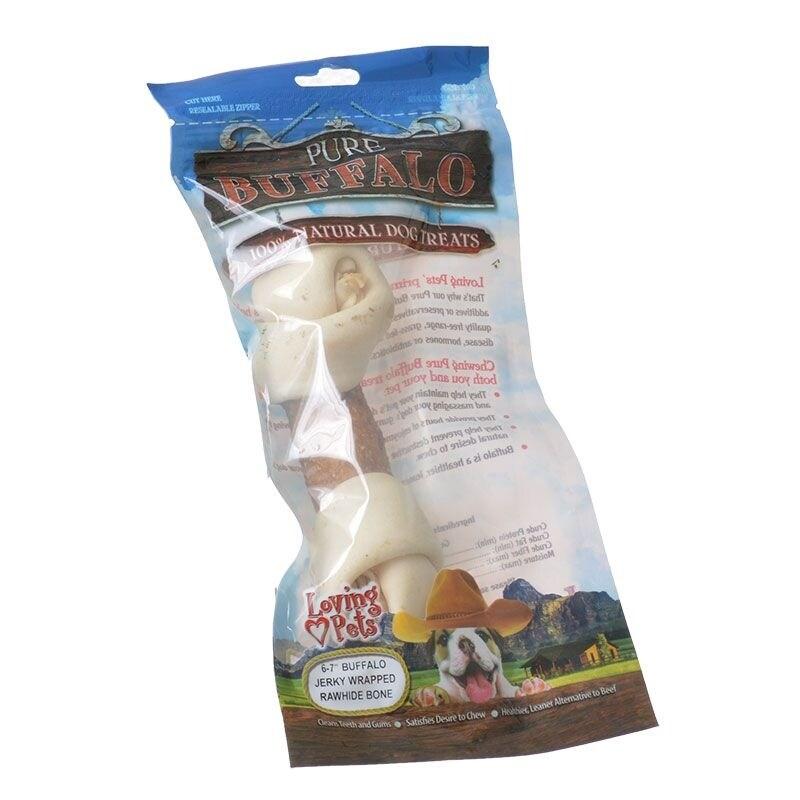 Loving Pets Pure Buffalo Jerky Wrapped Rawhide Bones - Large - 1 Pack - (6-7 Bone)