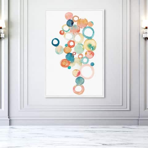 Oliver Gal 'Serendipity' Abstract Wall Art Framed Print Watercolor - Orange, Green