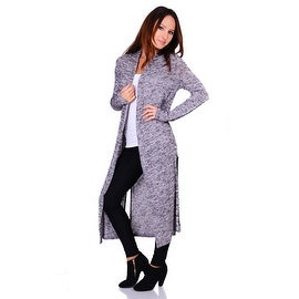 Simply Ravishing Hacci Knit 2-Tone Long Sleeve Long Cardigan (Size: S-3X) (More options available)