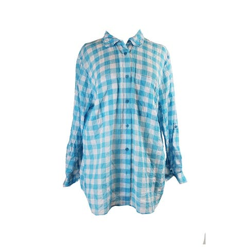 Michael Michael Kors Aqua Long-Sleeve Checked Shirt 2X