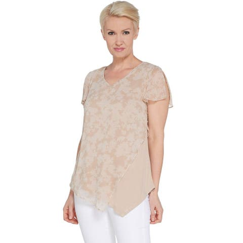 H by Halston Womens Plus Chiffon Overlay Top w/ Flutter Sleeve 2X Sand A308297