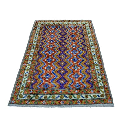"""Hand Knotted Green Tribal & Geometric with Wool Oriental Rug (4' x 5'10"""") - 4' x 5'10"""""""