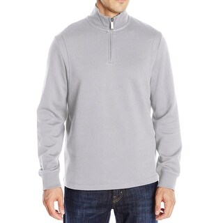 Perry Ellis NEW Gray Mens Size 2XL 1/2 Zip Mock-Neck Pullover Sweater