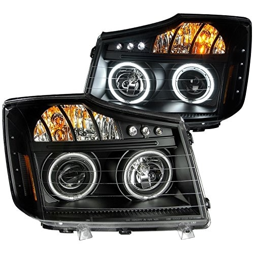 AnzoUSA 111178 Black Clear/Amber Projector Halo LED Headligh